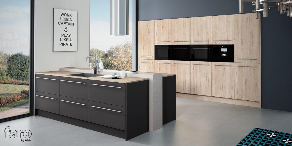 Faro by alvic lanza su nueva colecci n de cocinas grupo for Cocina de madera antracita