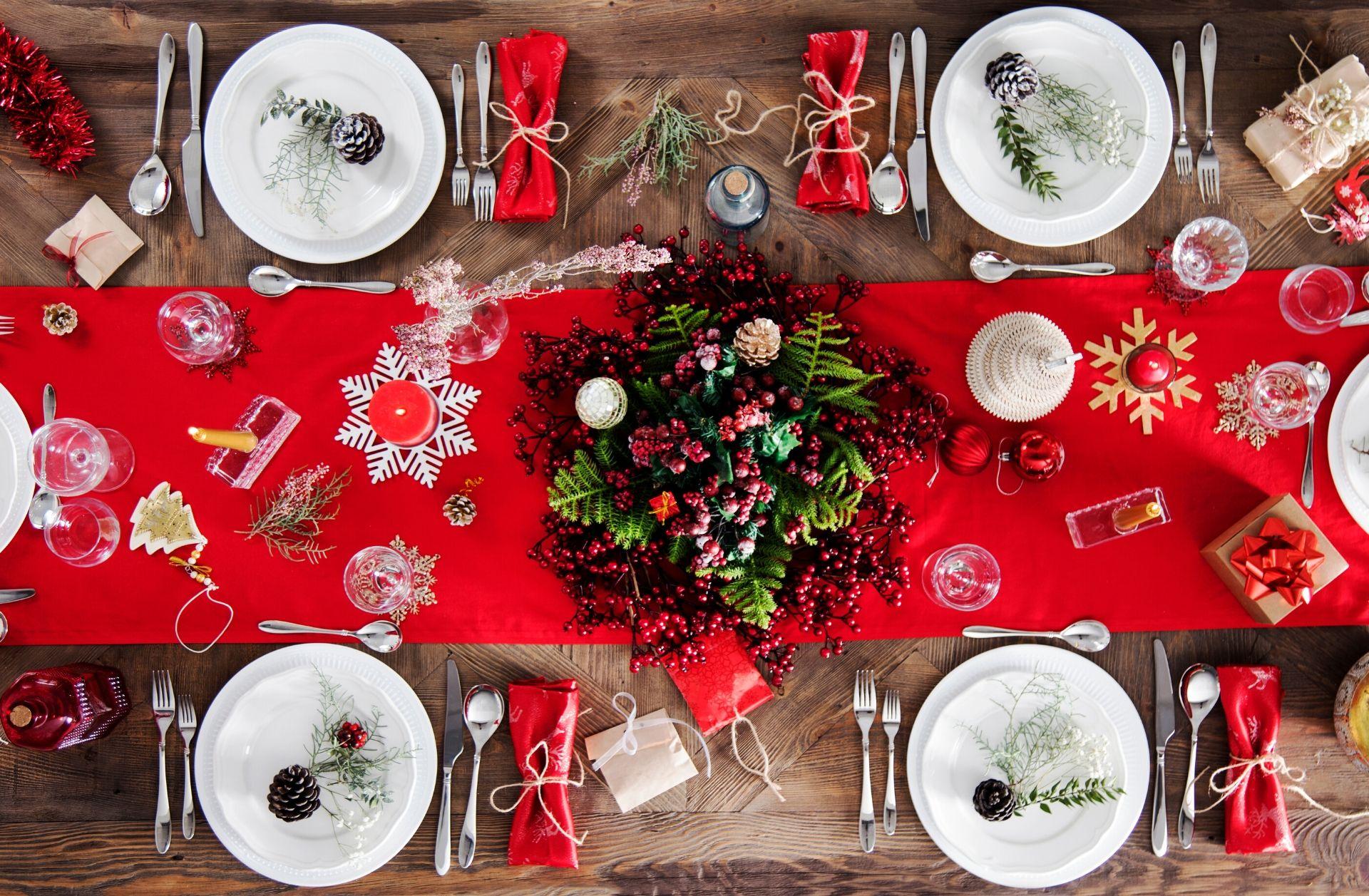 mesa navidad decoración